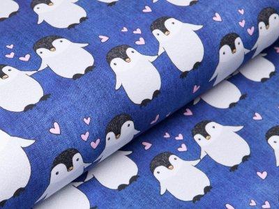 Leicht angerauter Sweat Jeansoptik Fräulein von Julie - verliebte Pinguine -  meliert dunkles jeansblau