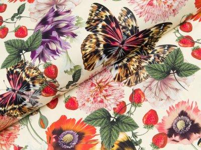 Bademodenstoff - Blumen und Schmetterlinge - creme