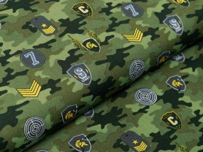 Webware Baumwolle Popeline - Army-Patches und Marken auf Camouflage - grün