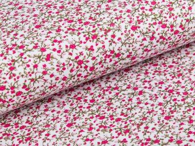 Jersey - Blumenzweige - weiß/rosa