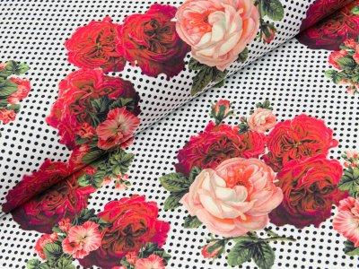 Bademodenstoff - Blumen und Punkte - weiß