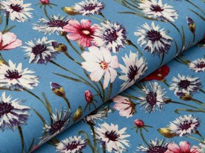 Jersey Viskose - Frühlingswiese - jeansblau