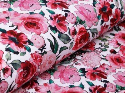 Leicht Angerauter Sweat Digitaldruck by Poppy - Blumengarten - weiß