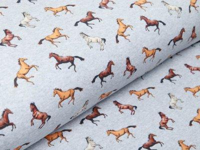 Sweat French Terry Digitaldruck - Pferderennen - meliert grau