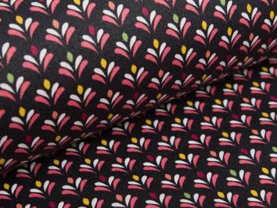 Beschichte Webwarete Baumwolle by Poppy - kleine Blumen - schwarz
