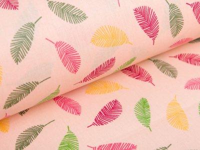 Beschichtete Webware Baumwolle by Poppy - farbige Federn -  helles lachs