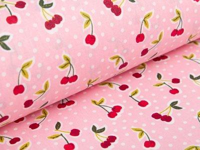 Beschichtete Webware Baumwolle by Poppy - Kirschen und Punkte - rosa