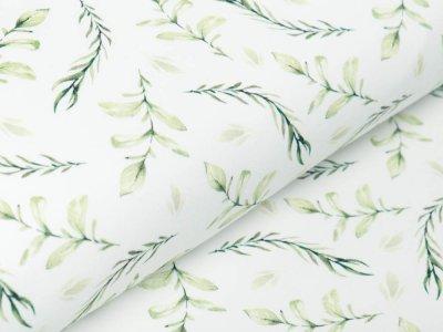 Jersey Digitaldruck - Gräser und Eukalyptus - wollweiß