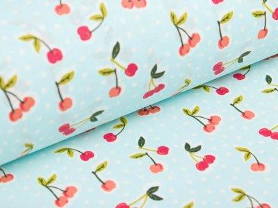 Beschichtete Webware Baumwolle by Poppy - Kirschen und Punkte - helles blau
