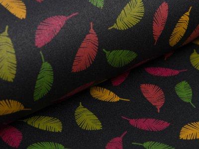 Beschichtete Webware Baumwolle by Poppy - farbige Federn -  schwarz