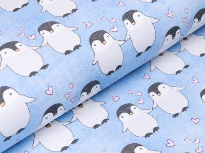 Leicht angerauter Sweat Jeansoptik Fräulein von Julie - verliebte Pinguine -  meliert jeans