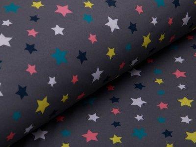 Softshell Jackenstoff - bunte Sterne - grau