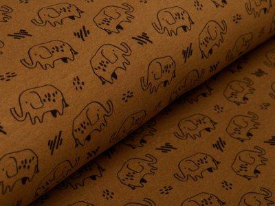 Angerauter Sweat Softtouch by Poppy - Elefanten - haselnuss