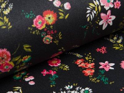 Beschichtete Webware Baumwolle by Poppy - Getreideblumen -  schwarz