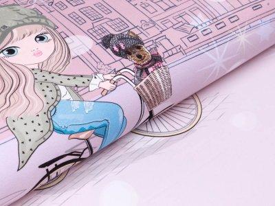 Sweat French Terry PANEL ca. 75 x 150 cm - Mädchen auf dem Fahrrad - altrosa