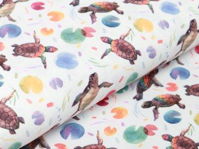 Jersey Digitaldruck - lustige Schildkröten - wollweiß