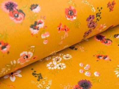Beschichtete Webware Baumwolle by Poppy - Getreideblumen - ocker