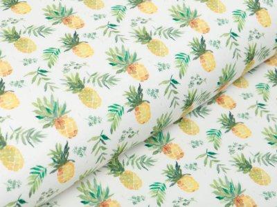 Jersey Digitaldruck - Ananas - wollweiß