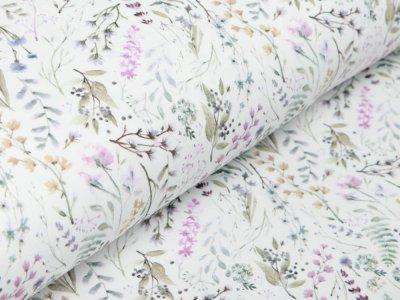 Jersey Digitaldruck - Blumenfeld - wollweiß
