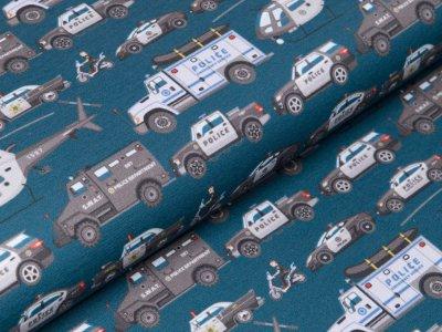 Sweat French Terry Digitaldruck Stenzo - verschiedene Polizeiautos - petrol