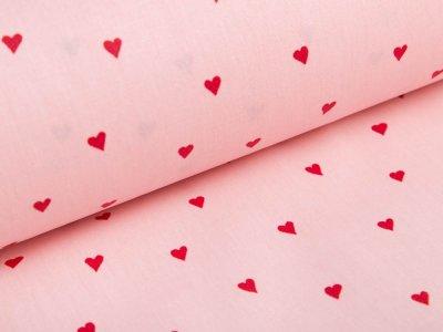 Beschichtete Webware Baumwolle by Poppy - Herzen - pink/rot