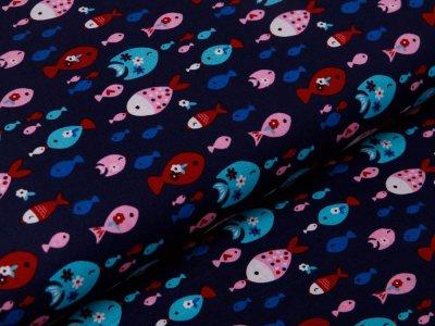 Webware Baumwolle Popeline - Fischschwärme - nachtblau