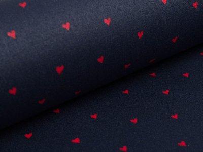 Beschichtete Baumwolle by Poppy - Herzen - navy/rot