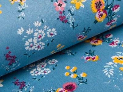 Beschichtete  WebwareBaumwolle by Poppy - Getreideblumen - altblau