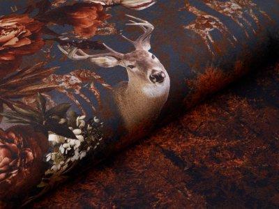 Jersey PANEL ca. 200 x 150 cm - Hirsch und Rehe im Wald - anthrazit