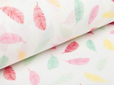 Beschichtete Baumwolle by Poppy - bunte Federn - weiß