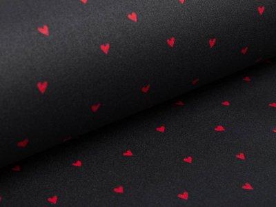 Beschichtete Webware Baumwolle by Poppy - Herzen - schwarz/rot