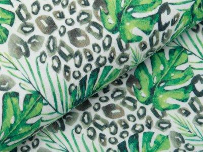 Baumwolle Musselin Double Gauze Digitaldruck - Monstera-Blätter auf Animalprint - wollweiß