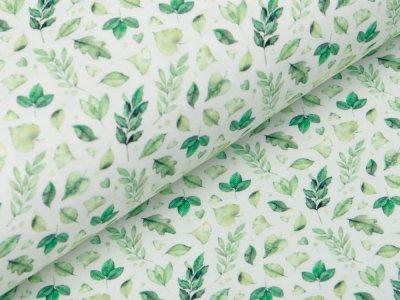 Jersey Digitaldruck - Blätter - wollweiß