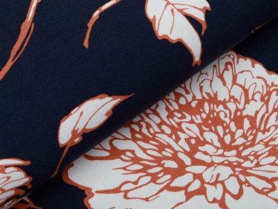 Bengaline Stretch-Stoff - Blumen - marine