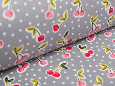 Beschichtete Baumwolle by Poppy - Kirschen und Punkte - grau