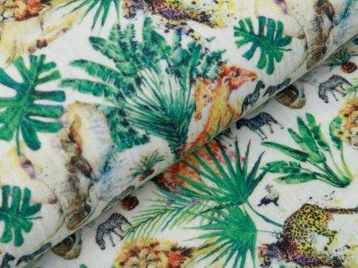 Baumwolle Musselin Double Gauze Digitaldruck - Dschungeltiere - wollweiß