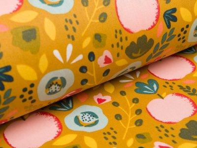Beschichtete Webware Baumwolle by Poppy - Pfirsiche und Getreideblumen - ocker