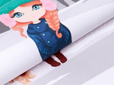 Sweat French Terry PANEL ca. 65 x 150 cm - Mädchen beim Eislaufen - grau