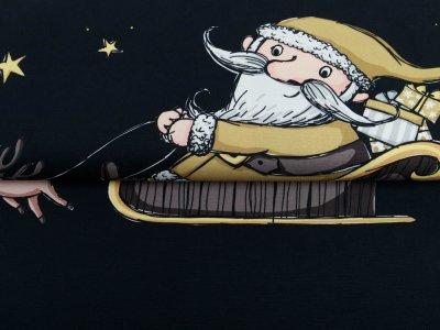 Canvas Swafing PANEL ca. 145 cm x 145 cm Happy Christmas Classic by Steinbeck - DIY Adventskalender - braun