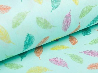 Beschichtete Webware Baumwolle by Poppy - farbige Federn -  helles mint