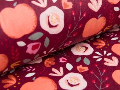 Beschichtete Webware Baumwolle by Poppy - Pfirsiche und Getreideblumen - dunkle beere
