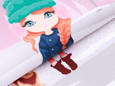 Sweat French Terry PANEL ca. 65 x 150 cm - Mädchen beim Eislaufen - altrosa