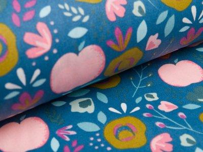 Beschichtete WebwareBaumwolle by Poppy - Pfirsiche und Getreideblumen - altblau