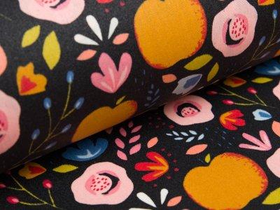 Beschichtete Webware Baumwolle by Poppy - Pfirsiche und Getreideblumen - navy