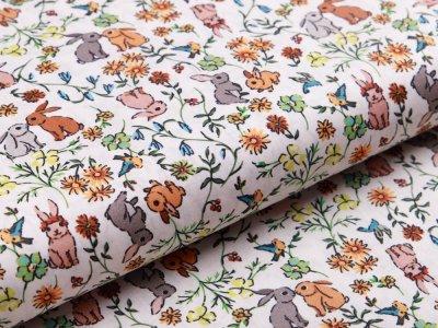 Webware Popeline Baumwolle Digitaldruck - kleine Hasen und Blumen - weiß/braun