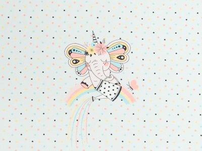 Jersey Eigenproduktion KDS - Fairy Elephant - rainbow jug - 50 cm x 50 cm Panel - hellblau