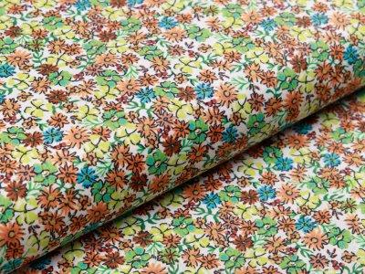 Webware Popeline Baumwolle Digitaldruck - Blumenmeer - weiß/lime