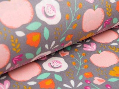 Beschichtete Baumwolle by Poppy - Pfirsiche und Getreideblumen - grau