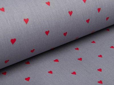 Beschichtete Webware Baumwolle by Poppy - Herzen - grau/rot