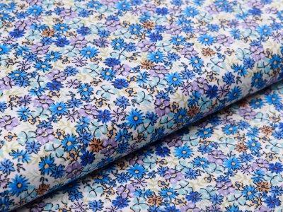 Webware Popeline Baumwolle Digitaldruck - Blumenmeer - weiß/blau